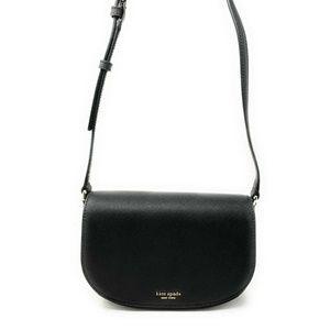 Kate Spade Reiley Flap Crossbody Bag Leather Black